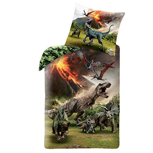 JW Dino Jungen-Bettwäsche · 1 x Kissenbezug 80x80 + 1 x Bettbezug 135x200 cm · Jurassic World Dinosaurier...