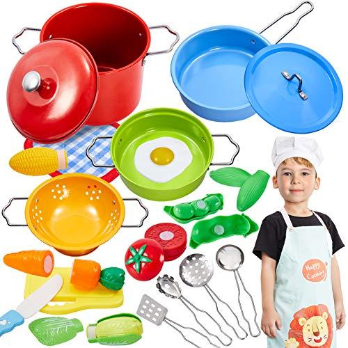 Buyger Kinderküche Spielküche Zubehör Kochgeschirr Spielzeug Kinder Küchenspielzeug Schneiden Gemüse...