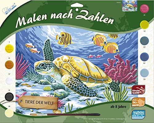 MAMMUT 109203 - Malen nach Zahlen Tiermotiv, Seeschildkröte, Komplettset mit bedruckter Malvorlage im A3...