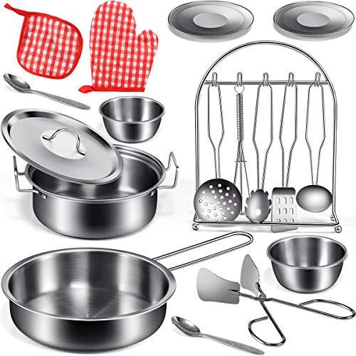 GeyiieTOYS Küchenspielzeug Küche Pretend Spielzeug mit Edelstahl Kochgeschirr Töpfe Pfannen Set für...