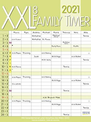 XXL Family Timer 8 2021: Familienplaner mit 8 breiten Spalten. Hochwertiger Familienkalender mit...