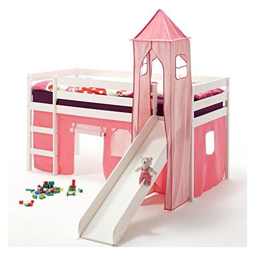 IDIMEX Rutschbett Hochbett Spielbett Bett Benny Kiefer massiv Weiss mit Turm+Vorhang pink 90 x 200 cm (B x L)...