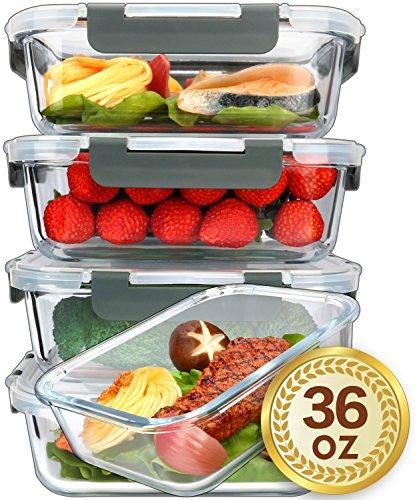 MCIRCO Glas-Frischhaltedosen 1040ml | 5er Set klick-It Dosen mit Deckel | Silikon Dichtungsring | Glasbeh?lter...