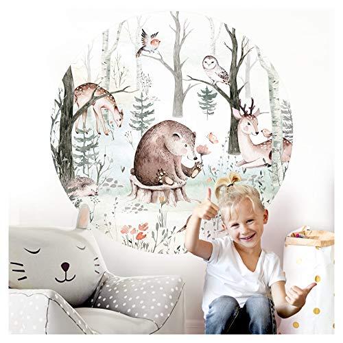 Little Deco Wandsticker Kinderzimmer Wandtattoo Tiere Bär Reh 120 cm rund Wanddeko Spielzimmer Sticker Kinder...