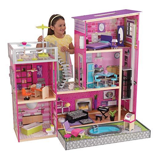 KidKraft 65833 Uptown Puppenhaus aus Holz mit Möbeln und Zubehör, Spielset mit drei Spielebenen für 30 cm...