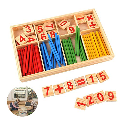 Reastar Montessori Mathematik Spielzeug Buntes Rechenstäbchen Holz Zahlen Mathematik Spielzeug Ausbildung...