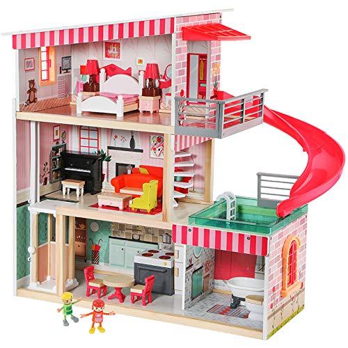 TOP BRIGHT Puppenhaus mit Möbeln und Puppen, Puppenhaus Holz für Mädchen 3 4 5 Jahre, 18 Möbel mit Licht...