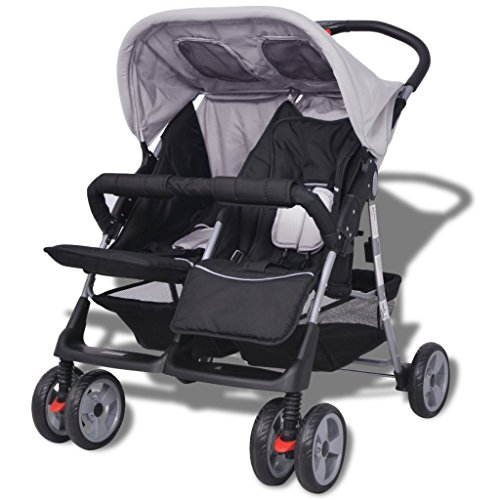 Festnight Klappbar Baby Zwillingswagen Zwillingskinderwagen Kinderwagen aus Stahl + Oxfordgewebe geeignet für...