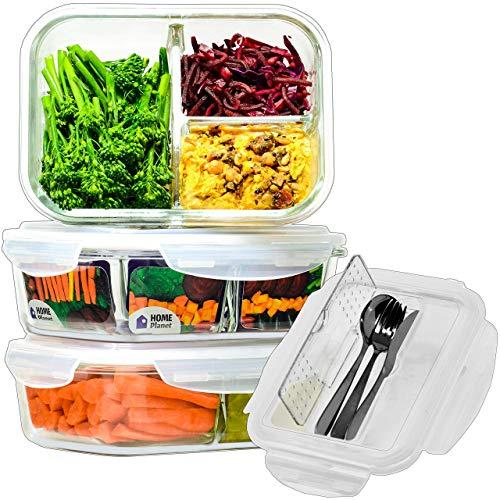 Home Planet® Dreifächer Lebensmittelbehälter aus Glas 1050ml 3er Set | 97% weniger Kunststoffverpackungen |...