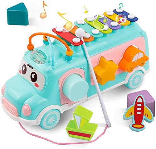 DeeXop Baby Spielzeug 1 2 3 Jahre, Musik Bus Spielzeug mit Xylophon und Bausteine, Best PäDagogisches...