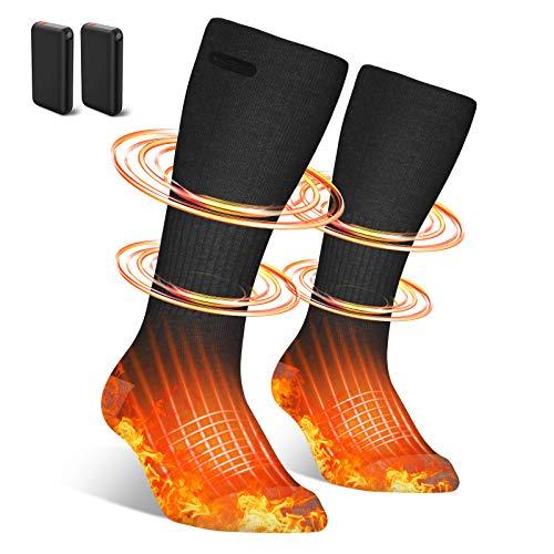 Beheizbare Socken Herren Damen,4500mAh Elektrische Beheizte Socken,Elektrische Wiederaufladbare Batterie...