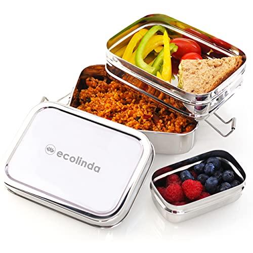 ecolinda®️ Premium Edelstahl Brotdose für Kinder [900ml] mit 3 Fächern & GRATIS Snackbox. Plastikfreie...