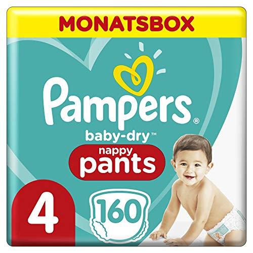 Pampers Baby-Dry Pants, Gr. 4, 9-15kg, Monatsbox (1 x 160 Höschenwindeln), Einfaches An- und Ausziehen,...