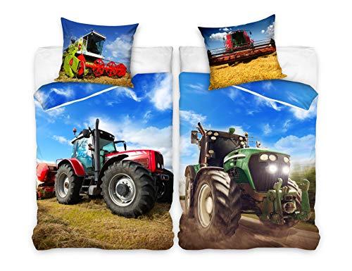 Familando Traktor Mähdrescher Bettwäsche-Set 135x200 cm + Kissen 80x80 cm Bauernhof Kinder-Bettwäsche...