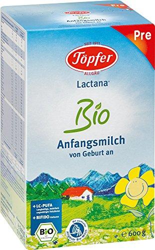 Töpfer Lactana Bio Anfangsmilch von Geburt an Pulver, 600 g Pulver