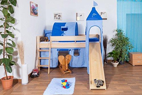 Kinderbett/Hochbett Tom mit Rutsche und Turm inkl. Rollrost - Material: Buche massiv natur, Farbe: klar...