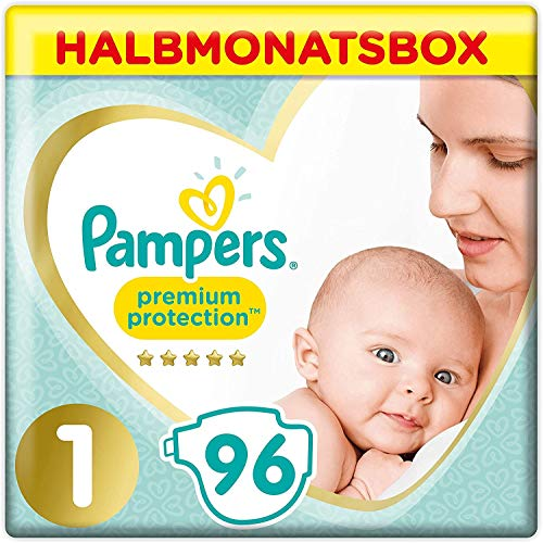 Pampers Premium Protection Windeln, Gr. 1, 2-5kg, Halbmonatsbox (1 x 96 Windeln), Pampers Weichster Komfort...
