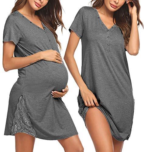 Pinspark Damen Geburt Stillnachthemd Kurzarm Stillkleid Grau Still Nachthemd Grau Geburtskleid...