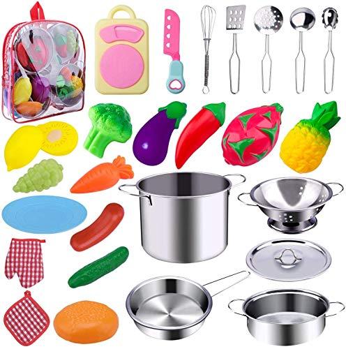 Jionchery 26pcs Spielen Küchenzubehör Kinder Kinder Küchenspielzeug Spieltöpfe Set Lernspielzeug Geschenk...