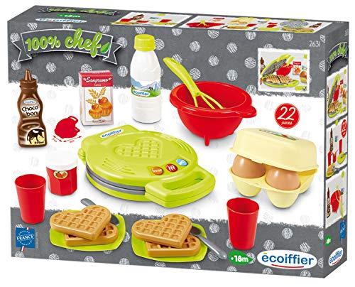 Ecoiffier – Waffeleisen für Kinder – 22-teiliges Backset mit Spiellebensmitteln, ideales Zubehör für...