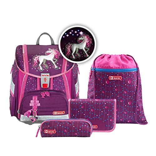 "Step by Step Ranzen-Set Touch 2 Flash ""Dreamy Unicorn"" 4-teilig, lila-pink, Einhorn-Design, ergonomischer..."
