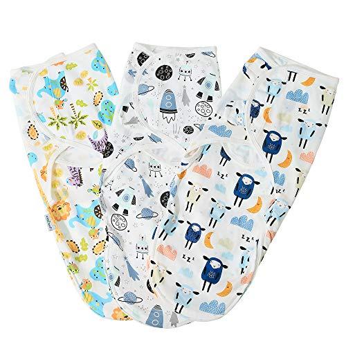 Pucksack Baby Wickeldecke 0-3 Monate für Neugeboren,Baby Swaddle Decke Pucktuch aus Bio-Baumwolle,3er Pack...