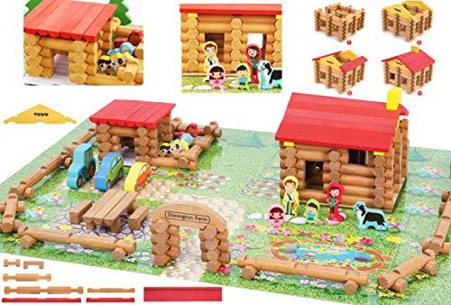 Toys of Wood Oxford Holz Bauernhof mit Tieren, Personen und Fahrzeugen - 207 Holze scheite zum selber Bauen...