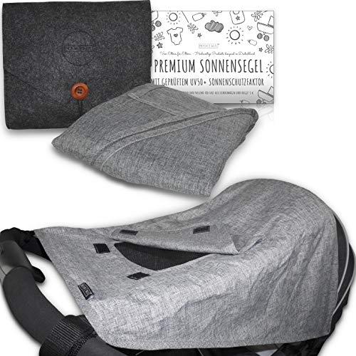MAHEWA® Premium Sonnensegel für Kinderwagen mit UV Schutz 50+ Sonnenschutz und Regenschutz universal...