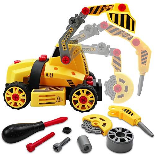 LIVEHITOP Montage Spielzeug Auto LKW, 7 in 1 Baufahrzeug mit Schraubenzieher DIY Auto, Lastwagen Lernspielzeug...
