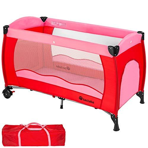 TecTake Kinderreisebett mit Schlafunterlage und praktischer Transporttasche - diverse Farben - (Pink | Nr....