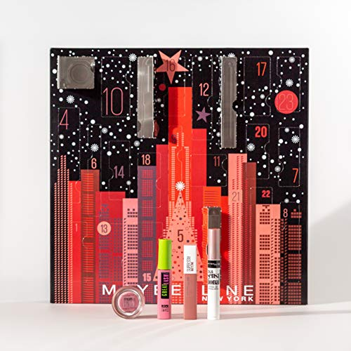 Maybelline New York Adventskalender mit Kosmetik hinter 24 Türchen, Beauty Adventskalender 2020 mit Schminke...