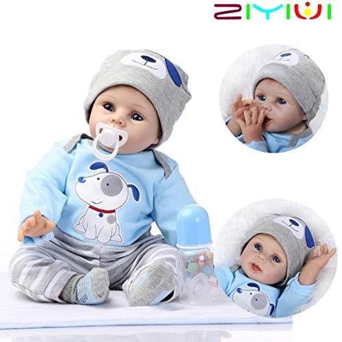 ZIYIUI Reborn Baby Puppe 22''/55cm Lebensecht Weiches Silikon Vinyl Handgemachte Reborn Baby Junge...