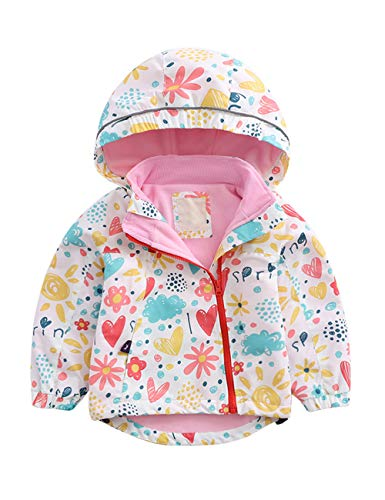 besbomig Kinderjacken Mädchen Winter Windproof Fleece - Personality Printed Hooded Oberbekleidung Mäntel...