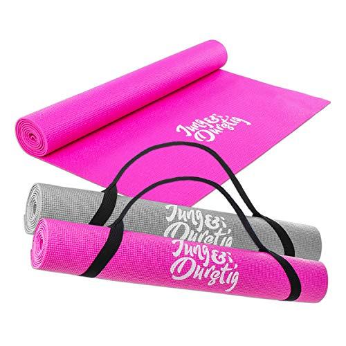Jung & Durstig 2in1 Yogamatte gepolstert & rutschfest | Gymnastikmatte in Pink | Maße 173 x 61 cm