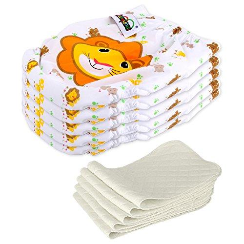 5 Stück Wiederverwendbare Waschbare Verstellbar Babywindeln Baby Windelhose Baby-Tuch-Windel Weicher Stoff...