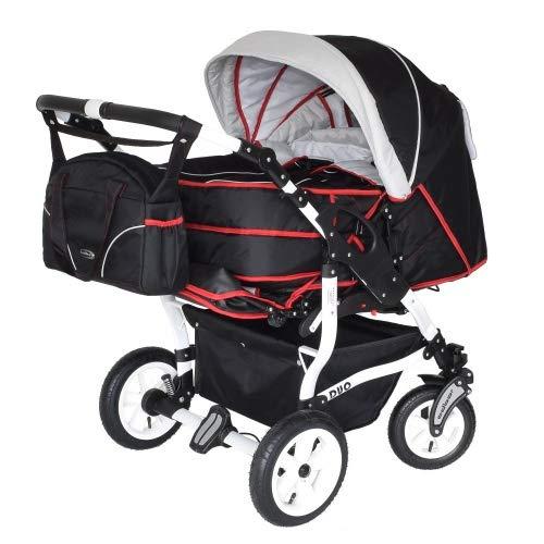 Adbor Duo 3in1 Zwillingskinderwagen mit Babyschalen - weißes Gestell, Zwillingswagen, Zwillingsbuggy Farbe...