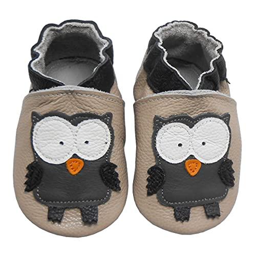 Bemesu Baby Krabbelschuhe Lauflernschuhe Lederpuschen Kinder Hausschuhe aus weichem Leder für Mädchen und...