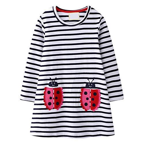 VIKITA Mädchen Kleider Streifen Langarm Baumwolle Herbst Winter T-Shirt Kleid M7002, 3-4 Jahre (104cm)