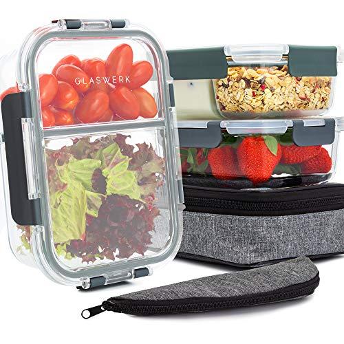 GLASWERK Frischhaltedosen aus Glas mit Deckel (3 Stück - 1040ml) - perfekt für Meal Prep - Glasbehälter mit...