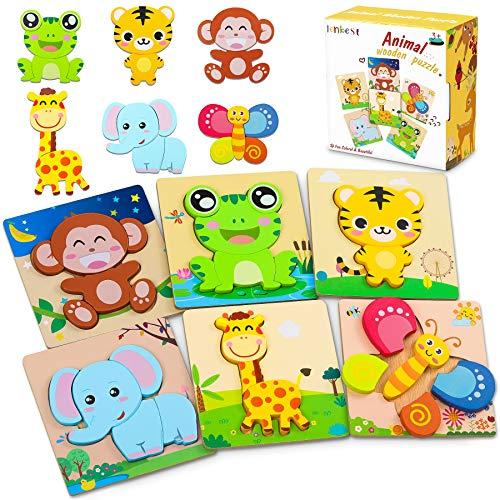 lenbest 6 Pcs Kinder Holzpuzzle, Lebendiger Hintergrund Steckpuzzle Holz Montessori Spielzeug, 3D Ungiftig...