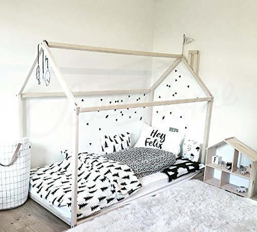Hausförmiges Montessori-Bett für Kinder – Holzbettrahmen aus nordischem Holz (200x90cm)