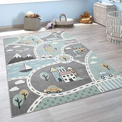 Paco Home Kinder-Teppich Mit Straßen-Motiv, Spiel-Teppich Für Kinderzimmer, In Grün Grau, Grösse:140x200...