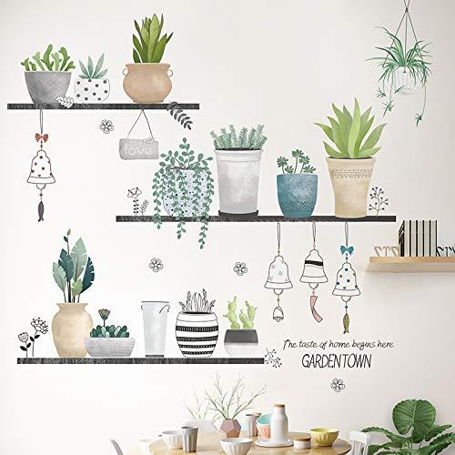 Sayopin Wandtattoo, Topfpflanze Wandsticker als Wanddekoration für Schlafzimmer Wohnzimmer Kinderzimmer,...