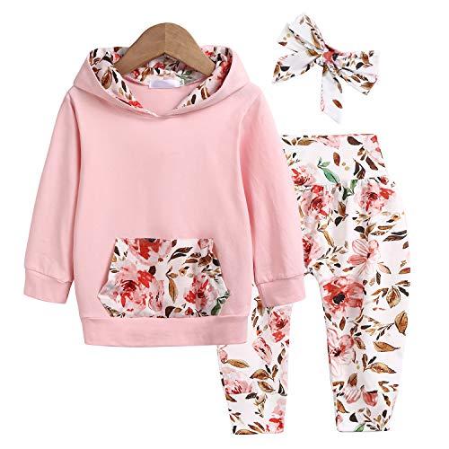 trudge 3 Stück Babykleidung Set Neugeborenes Kleinkind Baby Mädchen Langarm Floral Hoodie Sweatshirt+ Hose+...