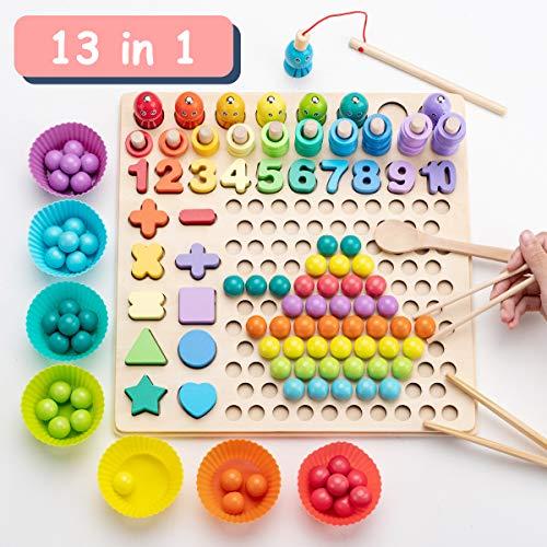 Surplex Holz Montessori Spielzeug Brettspiele Clip Perlen Puzzle, Angelspiel Lernspielzeug Magnetisches...