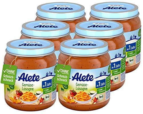 Alete Bio Gläschen Gemüse-Lasagne, Babynahrung in Bio-Qualität, ohne Zusatz von Aromastoffen & Zucker,...