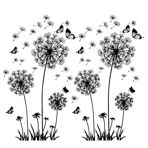 2 Stück Schwarz Wandtattoo Pusteblumen für Wanddeko,XXL Groß Löwenzahn Blumen Pflanzen Wandsticker...