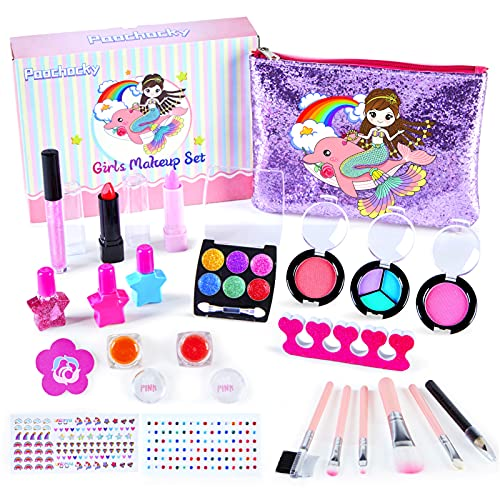 Paochocky 23 PCS Kinderschminke Set Mädchen Waschbar Makeup Spielzeug Mit Glitter Kosmetiktasche Kinder...