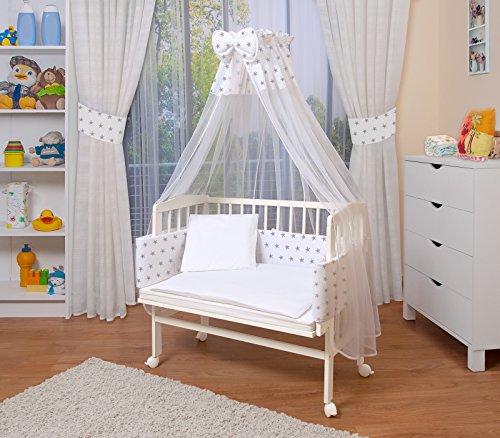 WALDIN Baby Beistellbett mit Matratze und Nestchen, höhen-verstellbar, 16 Modelle wählbar, Buche Massiv-Holz...