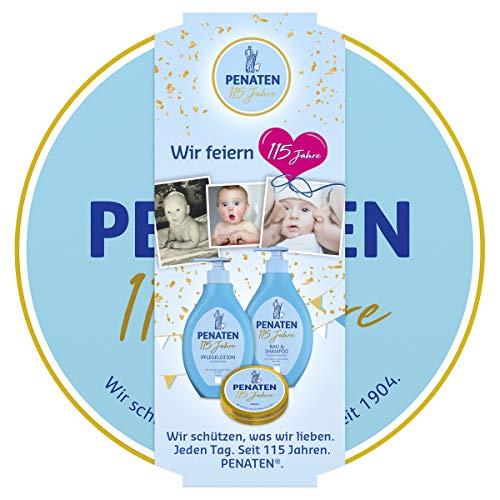 Penaten Baby Pflege Geschenkset in der 115 Jahre Edition, mit Pflegelotion, Bad & Shampoo und Creme, 1 x 3er...